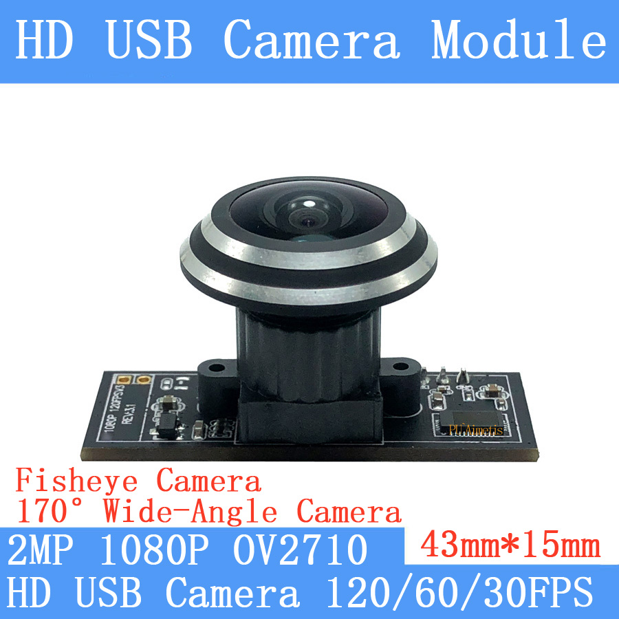 2MP 170 ° Module de caméra USB grand angle oeil de poisson OV2710 1080P MJPEG 640*480 120fps haute vitesse Linux UVC caméra de Surveillance Webcam