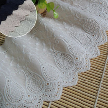 11cm Wide Cotton Hollow Embroidery Clothes Accessories Skirt Lace Fabric Edge Diy Decor Tablecloth Curtain Sofa Handmade Cloth 7cm wide hollow delicate flower lace handmade diy embroidery clothing accessories skirt water soluble edge sewing curtain decor