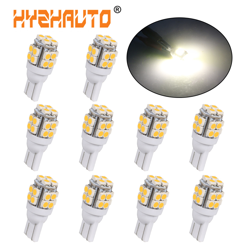 HYZHAUTO 10Pcs Warm White <font><b>T10</b></font> <font><b>LED</b></font> Bulbs 20 SMD 194 168 W5W <font><b>LED</b></font> interior Bulb Car Clearance Lamp Marker Lights <font><b>4300K</b></font> 12V image