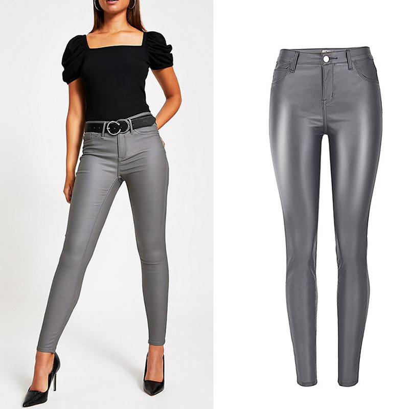Women's High Waist Jeans Slim Elastic Vintage Noble Gray Imitation Leather Trouser Denim Pencil Pants PU Motorcycle Pants Female