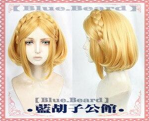 Image 2 - The Legend of Zelda: peluca Cosplay de la princesa Zelda Link, of The Wild Breath, rubia larga, disfraz de Cosplay del pelo, gorra de peluca gratis