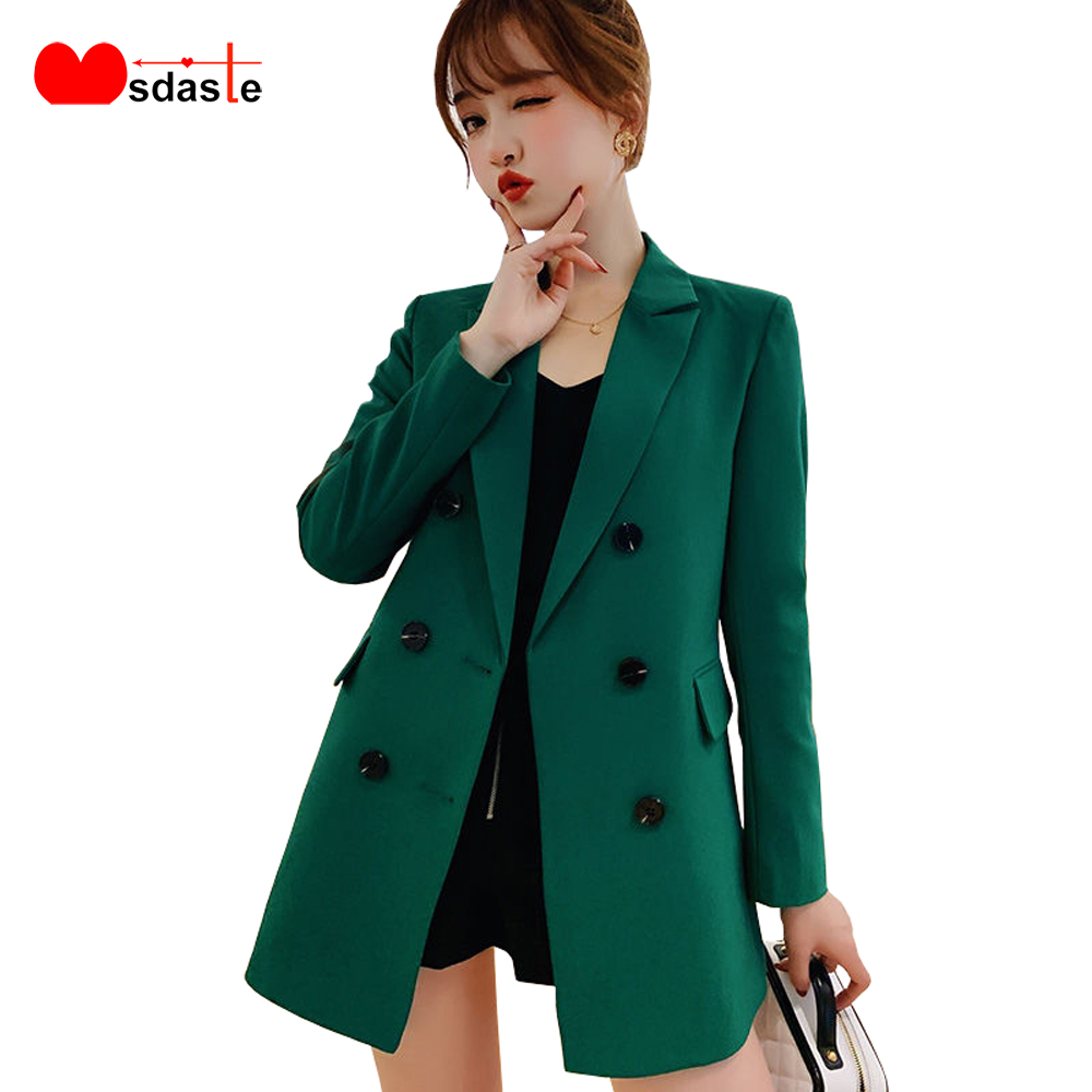 Women Casual Blazer Jacket Coat Fashion 2020 Spring Autumn Double Breasted Office Lady Long Blazers Female Outerwear Top Coats
