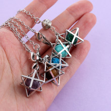 Mujer Reiki Natural Stone Merkaba Pendulum For Wicca Drowsing Hexagram Pendule Round Crystal Quartz Beads Pendants Jewellery(China)
