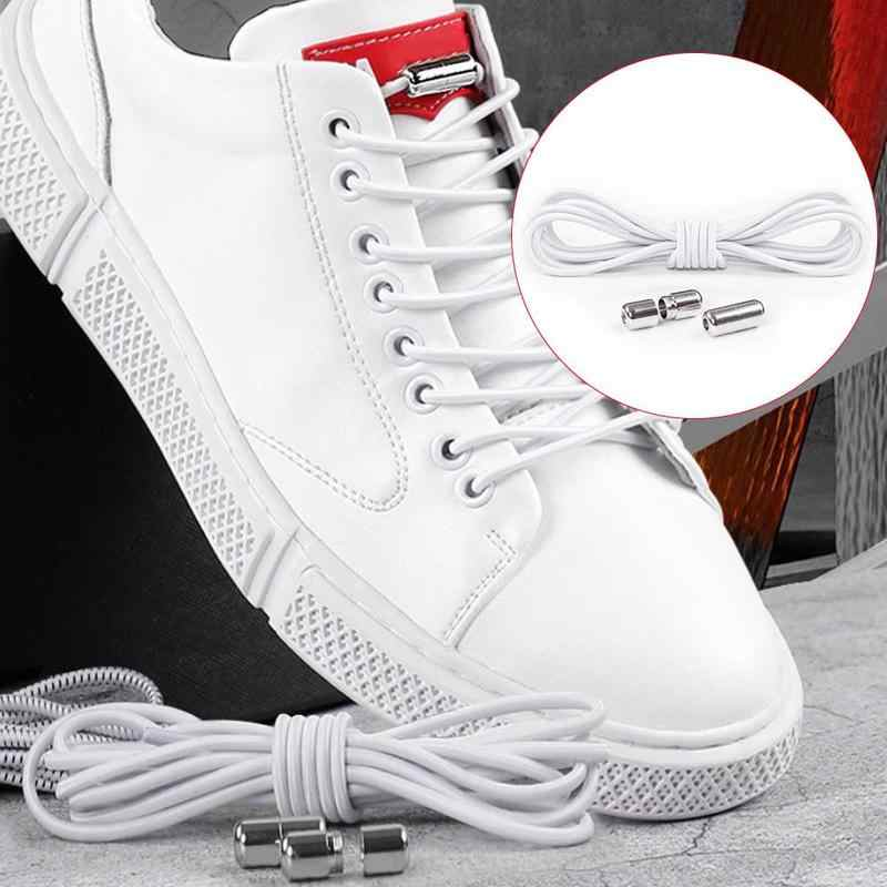1 Pair No Tie Elastic Shoelaces Round Shoe Laces Metal Capsule Quick Lazy Shoelace Leisure Sneakers Laces Unisex Kid Adult