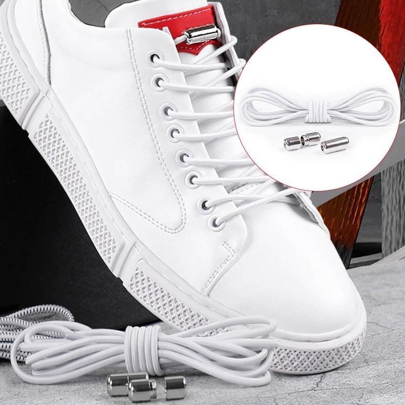 1 Pair No Tie Elastic Shoelaces Round Shoe Laces Metal Capsule Quick Lazy Shoelace Leisure Sneakers Laces Unisex Kid Adult