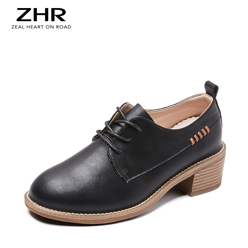 2020 Genuine Leather Oxford Shoes For Women Vintage Work Shoes Fashion Platform Women Flats Shoes Loafers Black
