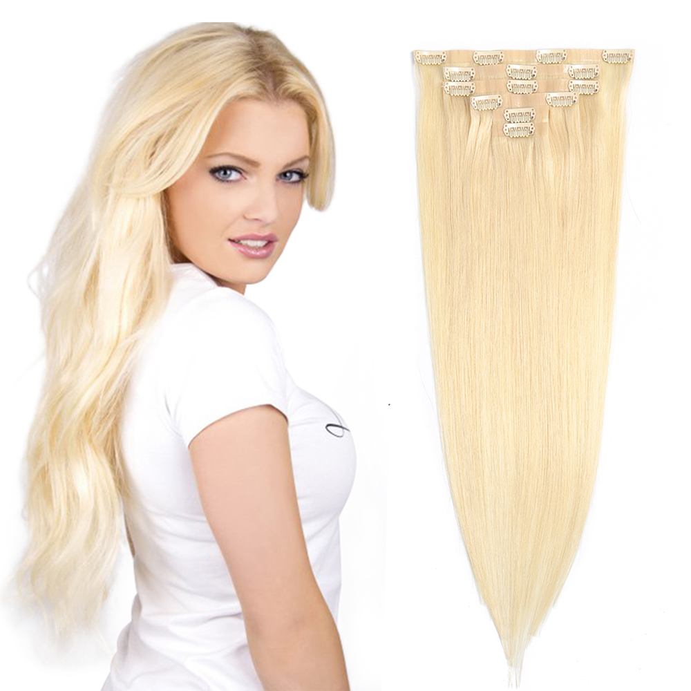 Synthetic PU Clip Hair Extension Straight Natural Invisible Blond 613 Color 24inches Skin Weft Full Head By Fashion Icon