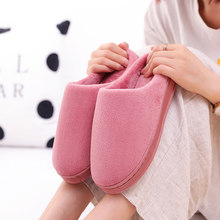 Winter Couple Warm House Shoes Solid Color Female Plush Slippers Japanese Mute Indoor Bedroom Floornon-slip Comfor Table Slippe(China)
