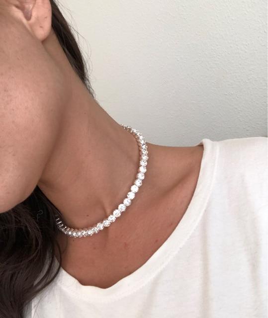 TREAZY Bridal Fashion Crystal Rhinestone Choker Necklace Women Wedding Accessories Tennis Chain Chokers Jewelry Collier Femme 5
