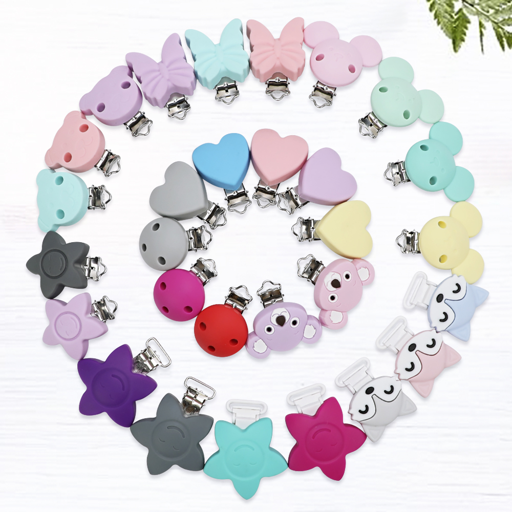 TYRY.HU 20 PCS Silicone Teether Clips Round Bear Star DIY Baby Pacifier Dummy Chain Holder Soother Nursing Jewelry Toy Clips
