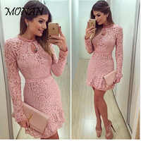High Quality Elegant Hollow Out Lace Dress Women Long Sleeve Autumn Style Midi-calf Pink Lace Dress Spring Party Dress Vestidos