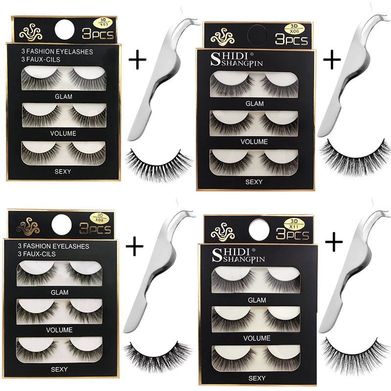 New Mink Eyelashes Kit Natural False Eyelashes 3D Mink Lashes Makeup Soft Fake Eyelash Set Extension Hand Made Makeup Eye Lashes