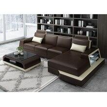 Диван для гостиной, угловой диван, динамик из натуральной коровьей кожи, секционные диваны