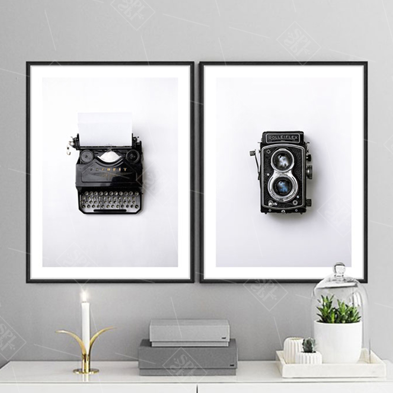 Retro Black And White Typewriter Camera Canvas Art Print Nordic Poster And Prints Painting Modern Home Decoration Wall Pictures