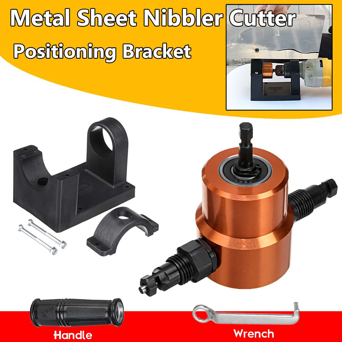Sheet Metal Nibbler Double Headed Metal Cutter Saw Drill Attachment 360 Degree Adjustable Cutting Tool With Positioning Bracket