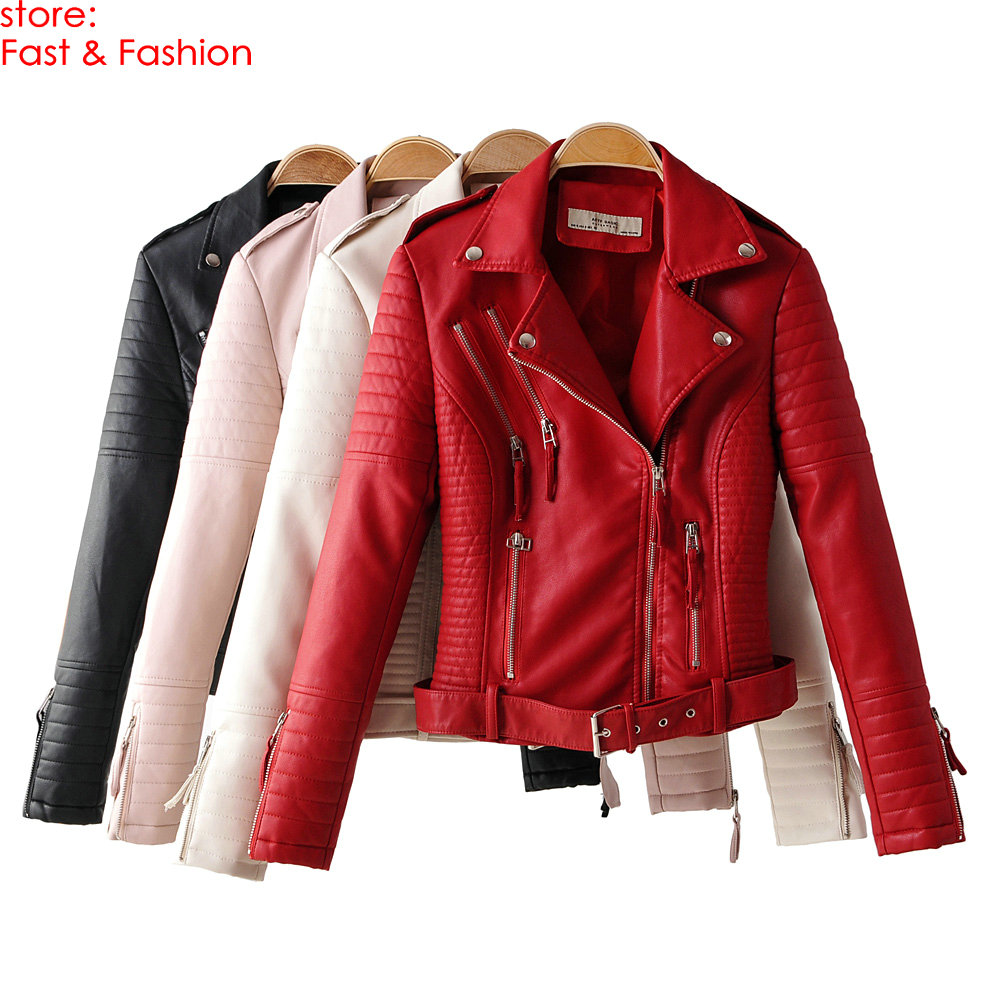 2019 New Autumn Winter Women Motorcycle Faux   Leather   Jackets Lady Long Sleeve PU Biker Zippers Streetwear Red Outerwear Couts