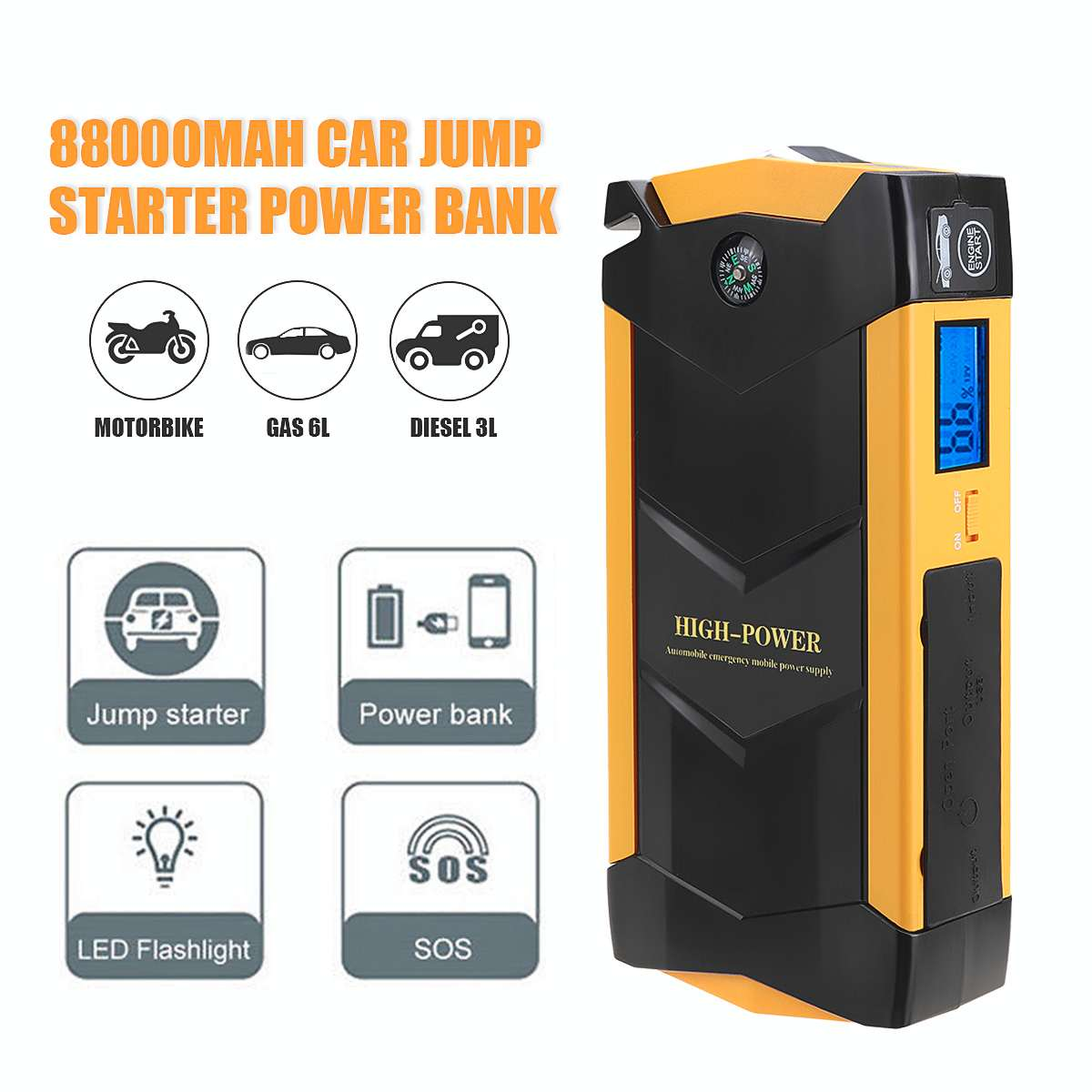 12V 600A USB 88000mAh Car Jump Starter High Capacity LED Light Mutifuction Portable Car Battery Booster Charger Power Bank image