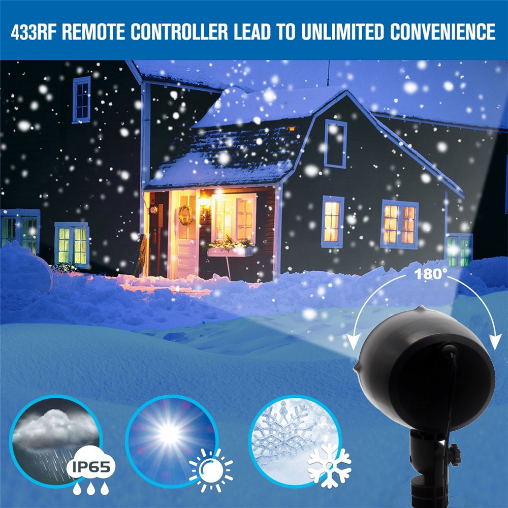 Led Christmas Lights Effect Outdoor Snowfall Projector IP65 Garden Birthday Wedding Deco Snowing Spotlight With Remote Control