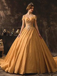 Wedding-Dresses Champagne Bride-Gown Sweetheart Long-Train Elegant Plus-Size Maternity-Luxury