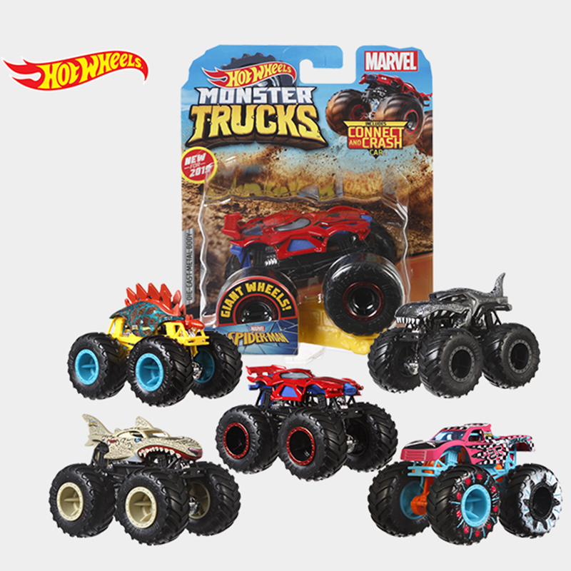 Hot Wheels Car MONSTER TRUCKS  BIG FOOT Connect And Crash Car  Collector Edition Metal Diecast Model Cars Kids Toys Gift