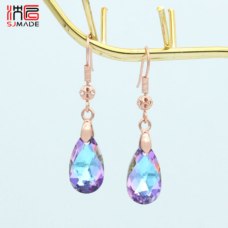 SJMADE Korean Fashion <font><b>Elegant</b></font> Temperament Colorful Water <font><b>Drop</b></font> Crystal Dangle <font><b>Earrings</b></font> 585 Rose <font><b>Gold</b></font> Ear Hook For Women <font><b>Jewelry</b></font> image