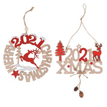 2Pcs Xmas Christmas Wooden Pendant Ornaments Wooden Pendants Fun Lovely Cute Pendants Hanging Ornaments Hanging Decors For Party(China)