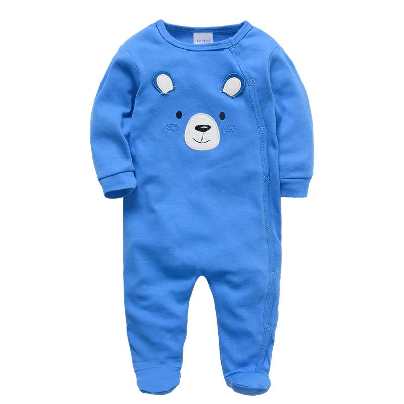 Nieuwe Geboren Baby Footies Jumpsuits 0-12M Blauw Cartoon Katoen Lange Mouw Pyjama Voor Baby Meisje Jongen Infant peuter Ropa Bebe
