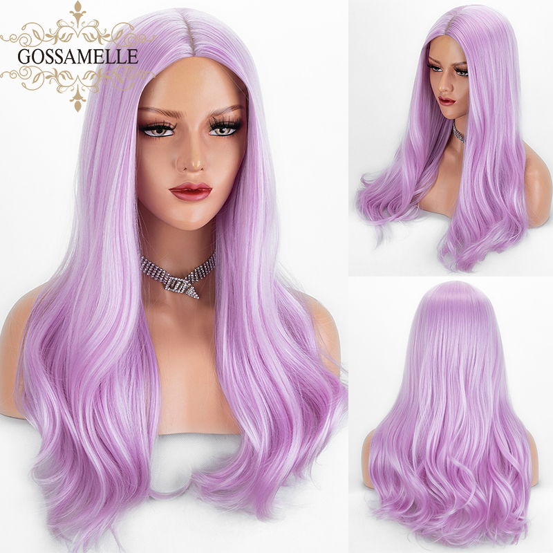 Gossamelle Long Natural Straight Synthetic Wigs For Black Women Middle Part Pink Cosplay Wig High Temperature Fiber Hair