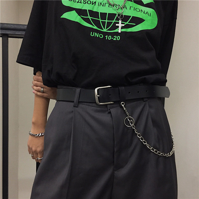 Newest Design Detachable Waist Belt Chain Punk Hip-hop Trendy Men Belts Lady Fashion Silver Pin Buckle Leather Waistband Jeans