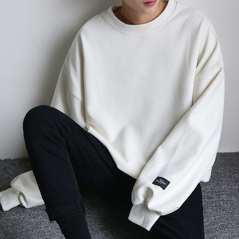 Crew Neck Casual Sweatshirt Men's Autumn And Winter Pullover Solid Color Trend Loose-Fit Men Base Shirt Long Sleeve Couple Cloth