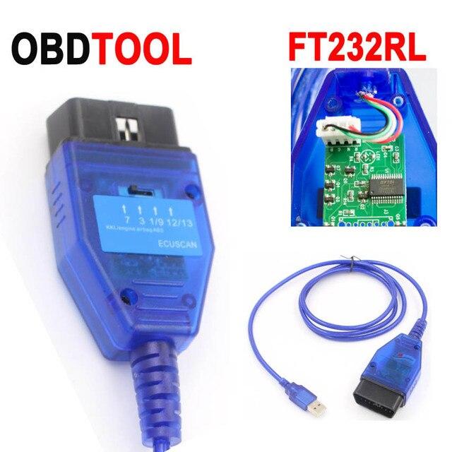 FTDI FT232RL שבב OBD2 USB אבחון כבל עבור פיאט VAG Ecu סריקת כלי לקרוא ברור מנוע ABS כרית אוויר ESP תקלה אוטומטי OBD מחבר