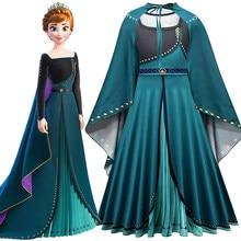 Costume Disney reine des neiges 2 pour filles, robe de carnaval, longueur au sol, longues manches, princesse Anna, Cosplay, pour enfants