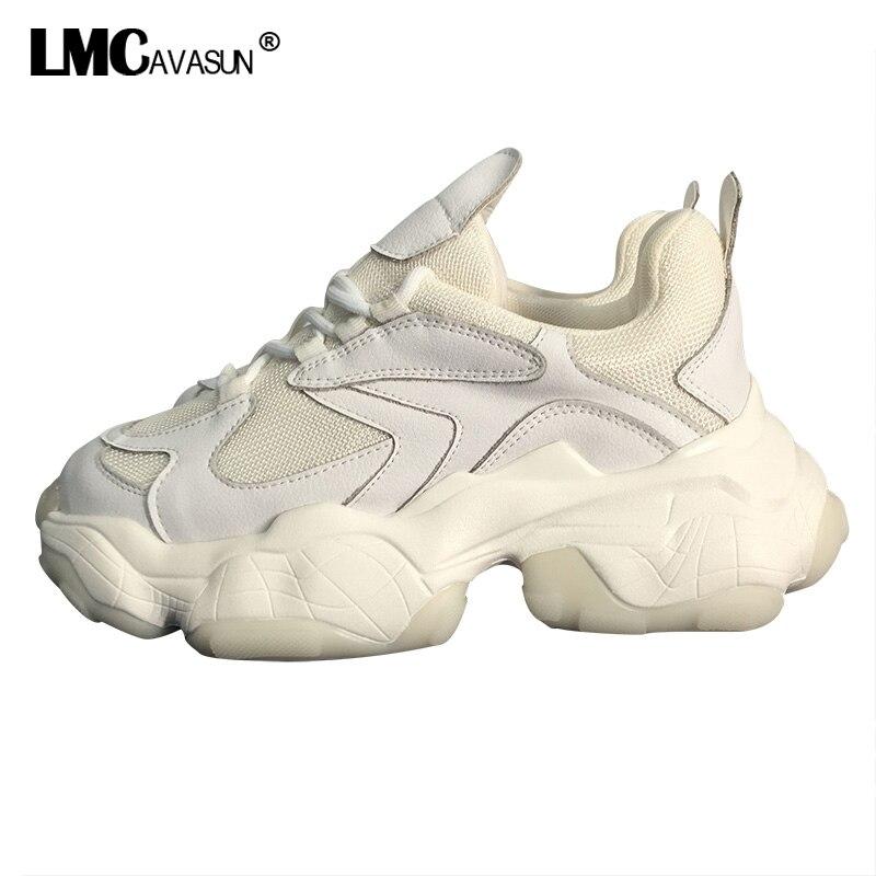 Baskets en cuir véritable femmes 2019 printemps mode respirant décontracté confortable chaussures plates plate-forme chaussures en plein air dames papa baskets