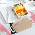 Белый/розовый Ланч-бокс  посуда  экологичный  портативный  пластиковый  с микрофиброй  набор посуды  Bento box  контейнер для еды для детей и взро...