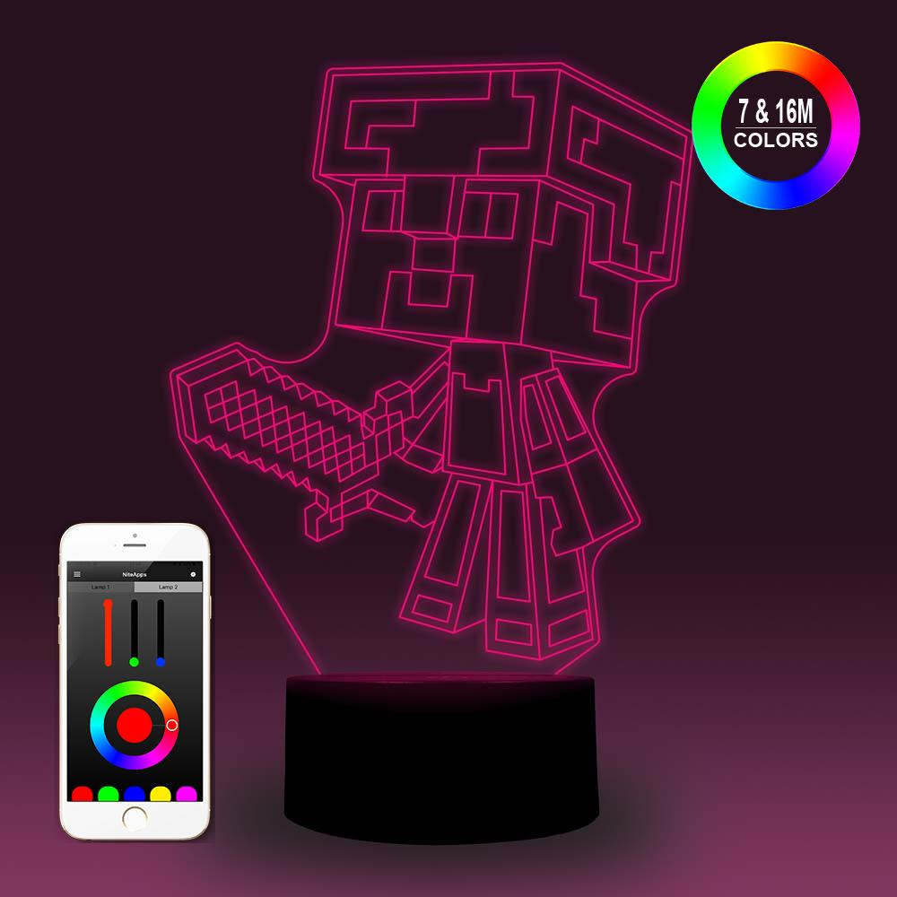 NiteApps 3D Steve In Diamond Armor Night Light Desk Table Illusion Decoration Lamp Holiday Birthday Gift APP/Touch Control