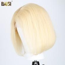 BAISI שיער קצר בוב פאות לנשים שחורות תחרה מול שיער טבעי פאות ברזילאי שיער פאות ישר 150% צפיפות