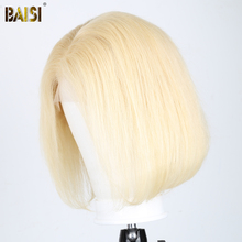 Pelucas cortas de pelo BAISI para mujeres negras pelucas de cabello humano de encaje pelucas de cabello brasileño de densidad recta de 150%