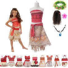 Girls Moana Costumes Ocean Adventure Journey Dress For Girl Toddler Cartoon Movie Role Playing Sets Pacific Islander Outfits(China)