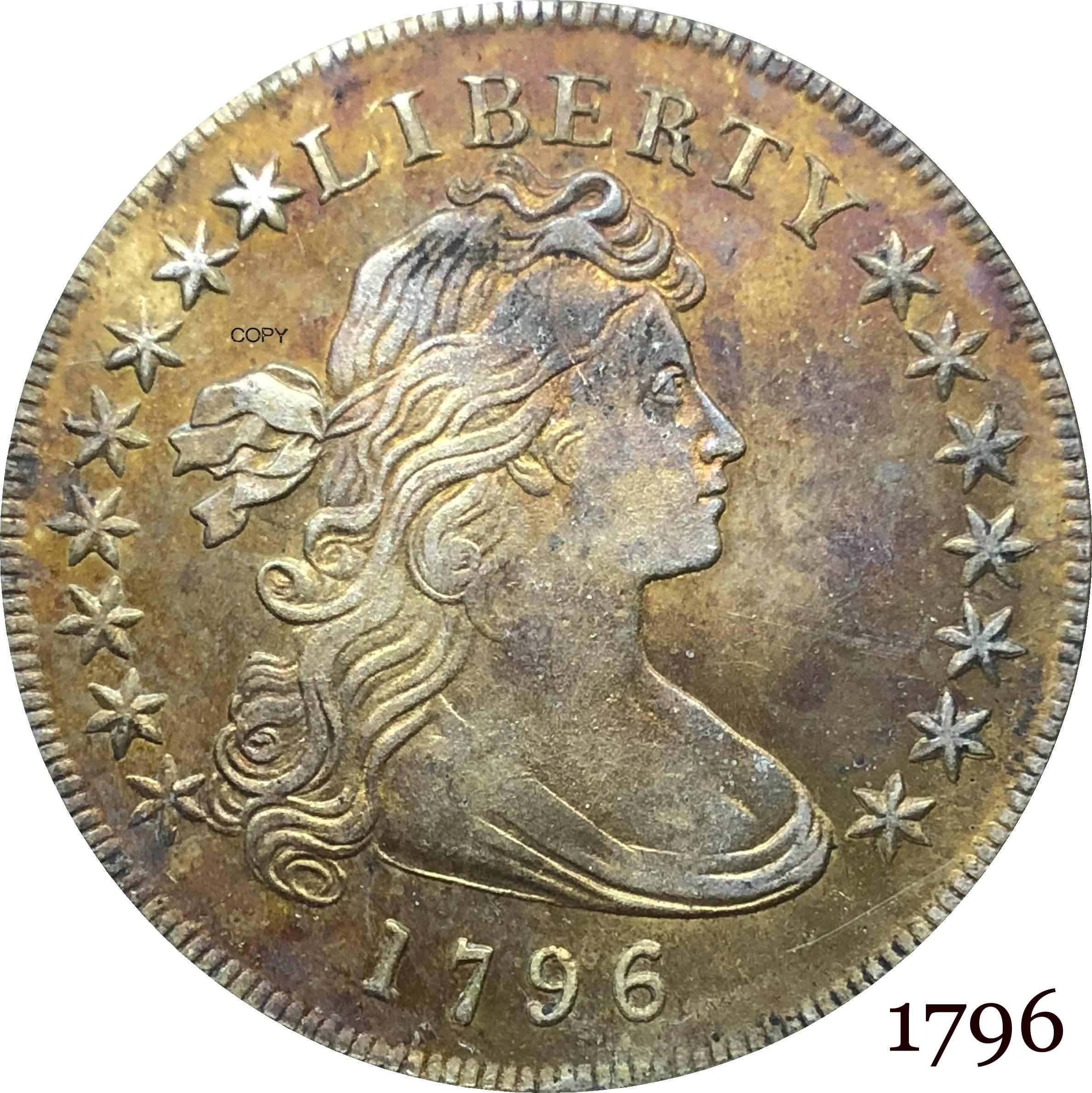 Американская американская монета 1796, с драпировкой бюста, один доллар, маленький Орел, Мельхиор, посеребренные копировальные монеты
