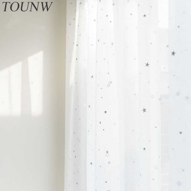 White Star Tulle Curtains For Living Room Modern Sheer Curtains For Bedroom Voile Window Screening Organza Blinds Drapes Customs