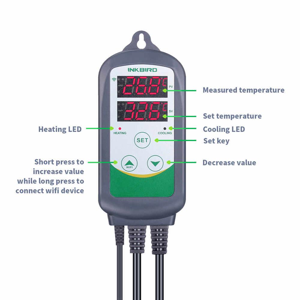 Inkbird ITC-308 WIFI dijital sıcaklık kontrol cihazı ab abd İngiltere AU tak çıkışı termostat, 2 aşamalı, 2200W, w/sensör Homebrewing için