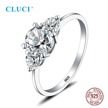 CLUCI Classic Real 925 Sterling Silver Women Wedding Engagement Ring Big Pure Zircon Gift Jewelry