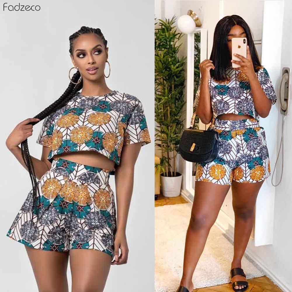 Fadzeco African Dresses for Women Ankara Jumpsuit Dashiki Print Short Sleeve Round Neck T Shirt and High Waist Short Pants(China)