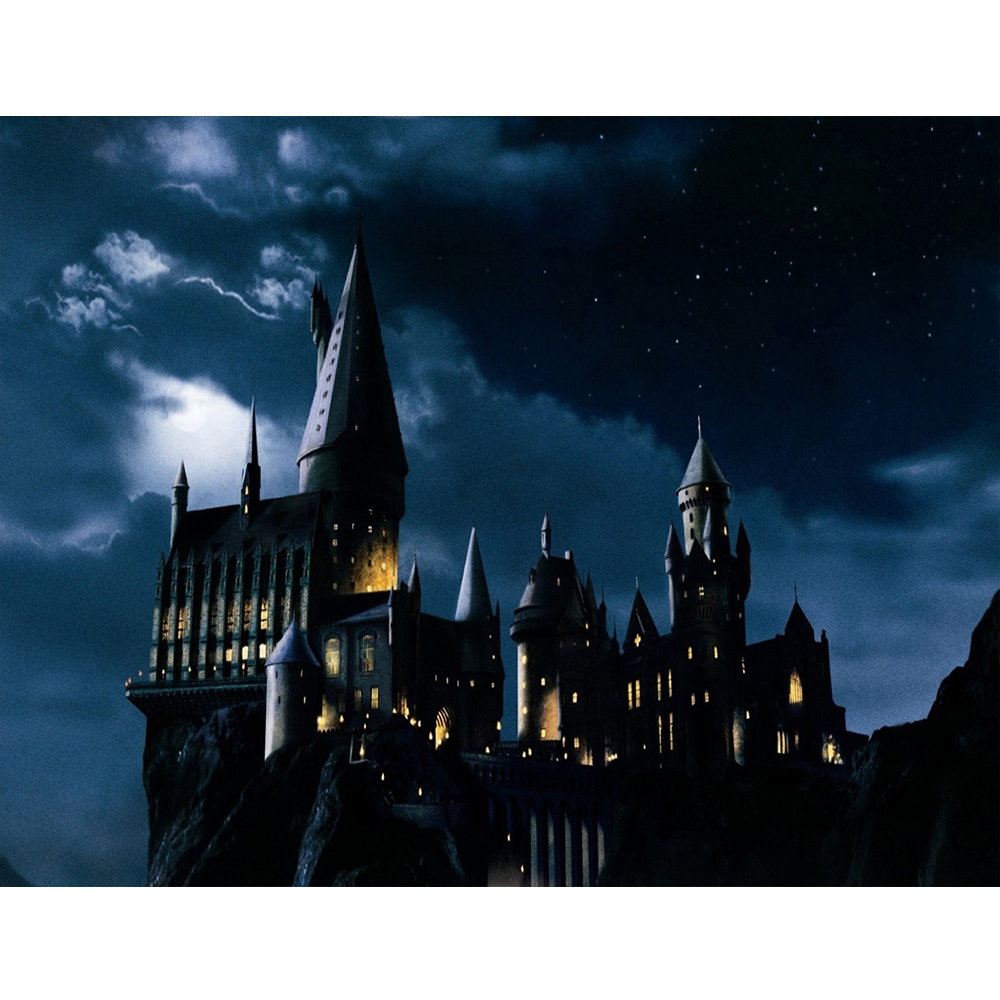 Magic Castle Witch Wizard Hogwarts Backdrop Photography Halloween Night Moon Background Sorcerer Party Banner Decors