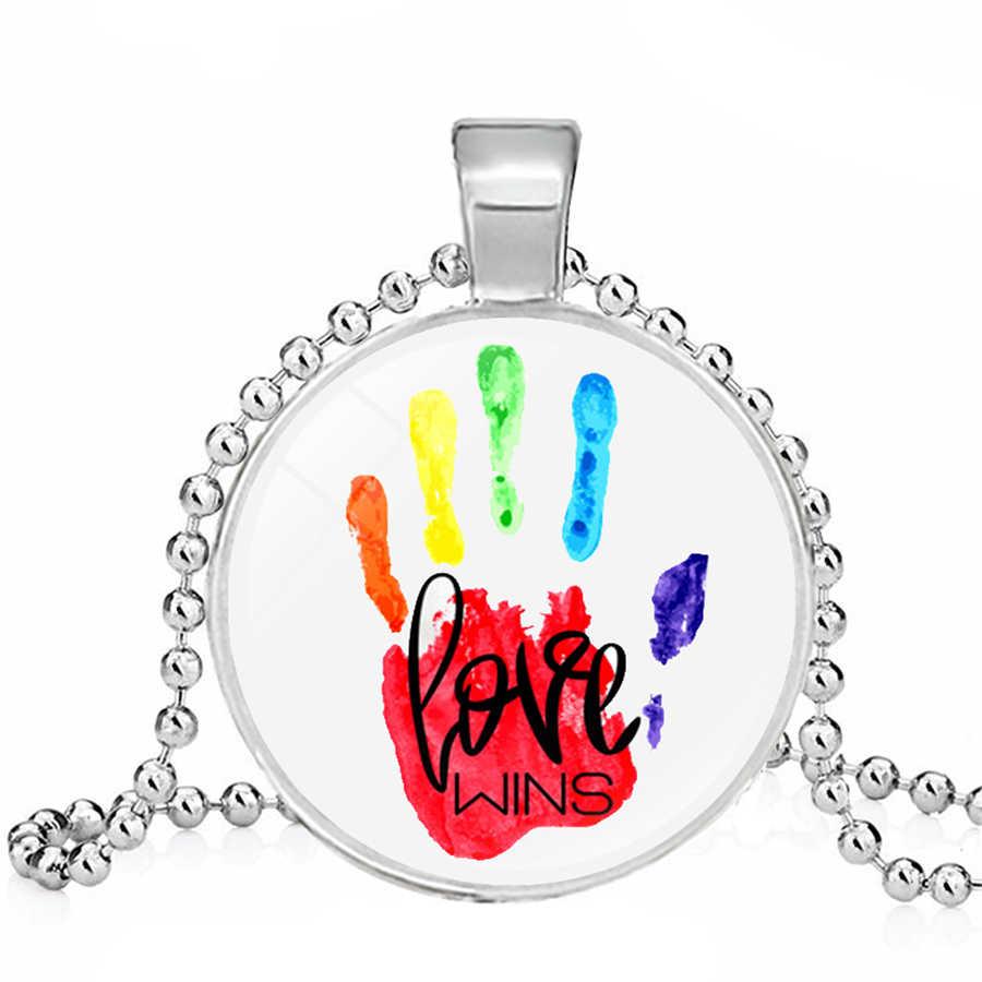 LGBT Bi Pride สร้อยคอเกย์ Pride สร้อยคอเลสเบี้ยนเกย์แก้วเครื่องประดับ Cabochon สร้อยคอเกย์ Pride เครื่องประดับ Dropshipping