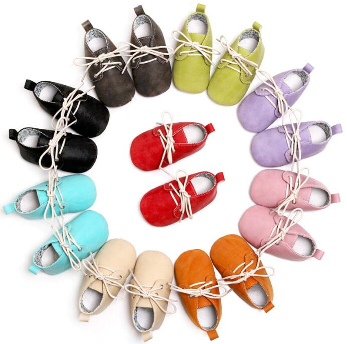 Lace-up Solid PU Leather Baby Moccasins Oxford Shoes Newborn Toddler Anti-slip Shoes First Walkers Soft Soled Baby Booties