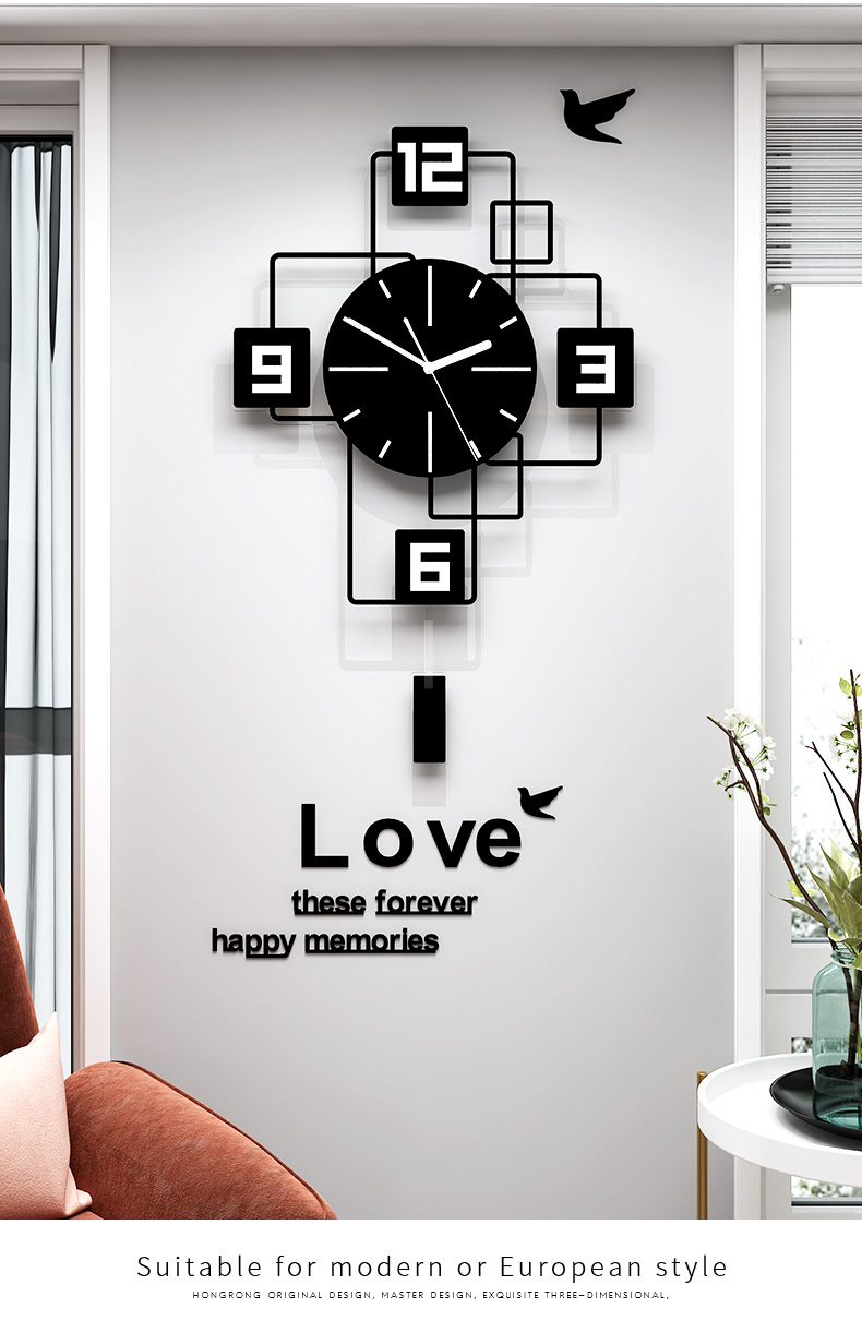 Swingable Large Wall Clock for Living Room Decor