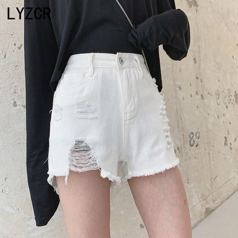 LYZCR Summer Women's Denim Shorts Women Sexy High Waist Ripped Shorts Jeans Women Loose Hole Jean Short Talla Grande Mujer