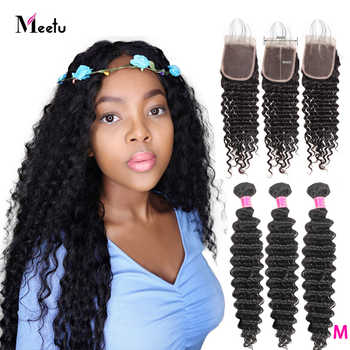 Meetu Deep Wave Bundles with Closure Brazilian Hair Weave Bundles with Closure 100% Human Hair Bundles with Closure Non Remy - DISCOUNT ITEM  55% OFF All Category