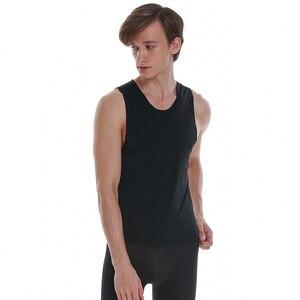 Image 3 - Asiaskin 남자의 얼음 실크, 울트라 얇은, 넓은 어깨 조끼, 아니 마크, 아니 가장자리, 섹시 민소매 s022bk.